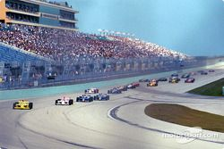 The start: Sam Hornish Jr. leading the pack