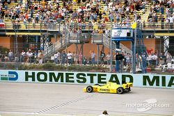 Sam Hornish Jr. taking the checkered flag