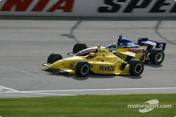 Sam Hornish Jr. in front of Jaques Lazier