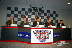 Gary Nelson-NASCAR, Brian Barnhart-VP of Operations IRL, Tony George-CEO Indianapolis Motor Speedway