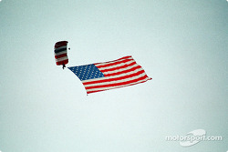 Old Glory descends from the sky