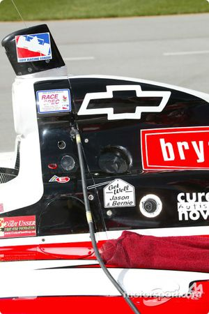 A get well message for injured Kelley Racing team members, IPS driver Jason Priestley and crew membe