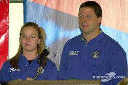 Sarah Fisher with her crew chief Dan Miller