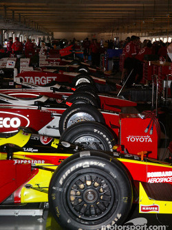 Cars lined up in garage area