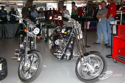 Motorcyles parked in garage area