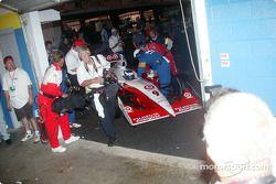 Scott Dixon rolls into a make shift winner circle