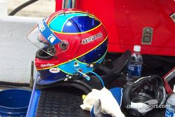 Bryan Herta's helmet and HANS device