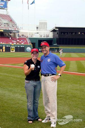 Visit at a Cincinnati Reds baseball game: Sarah Fisher and Robbie Buhl