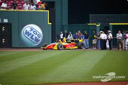 Visit at a Cincinnati Reds baseball game: Scott Sharp drives the 2-seater car onto the field