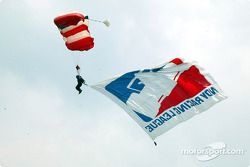 Skydiver during pre-race ceremony