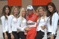 Pole winner Helio Castroneves with the IndyGirls