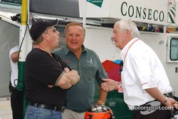 IMS Radio Network's Mike King, A.J. Foyt and Roger Bailey