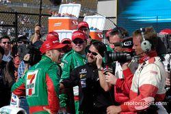Tony Kanaan celebrates with Michael Andretti