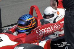Davey Hamilton takes a guest in the Indy Racing League 2-seater car