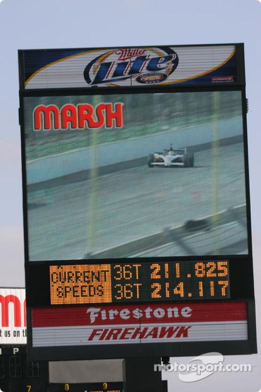 Un écran vidéo à l'Indianapolis Motor Speedway