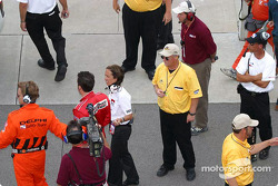 Sam Hornish Jr. after the accident with Greg Ray and Darren Manning