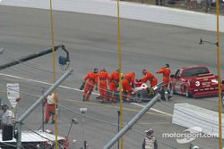 Safety workers attend to Marty Roth
