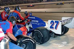Dario Franchitti in for a pit stop