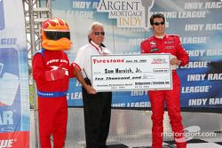 Sam Hornish Jr. receives an award