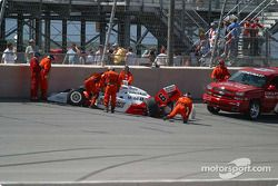Safety crews attend to Sam Hornish Jr.