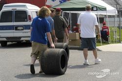 Tire souvenirs for a few fans
