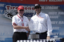 Al Speyer presents the 100th Race Trophy to Tony George