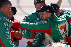 Indy Racing League IndyCar Series 2004 champion Tony Kanaan celebrates with his crew