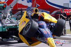 Wrecked car of Alex Barron