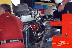 Garage activity after the race