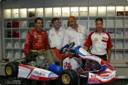 Stars of karting press conference: Bryan Herta and Bobby Rahal with a kart