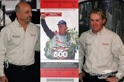Bobby Rahal and Buddy Rice with the 2005 Indianapolis 500 ticket, featuring images of Rice, Rahal an