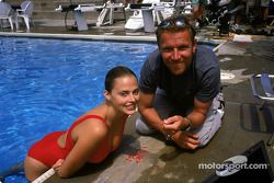 Synchronized swimming champion, Estella Warren in her element in the water; seen here discussing with Renny Harlin