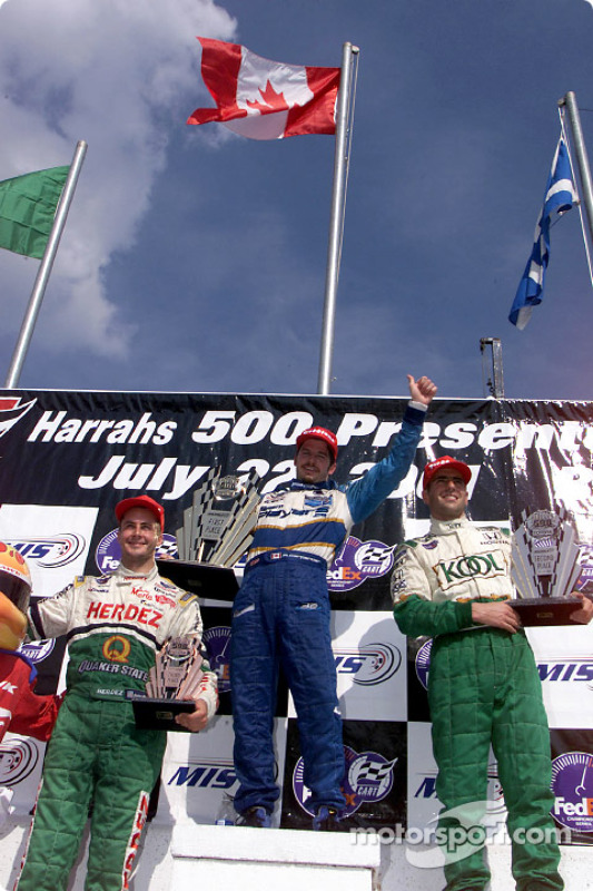 Maple Leaf floating at the top: Michel Jourdain Jr., Patrick Carpentier and Dario Franchitti