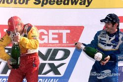 The podium: Kenny Brack and Patrick Carpentier