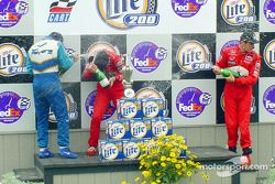 The podium: Patrick Carpentier, Helio Castroneves and Gil de Ferran