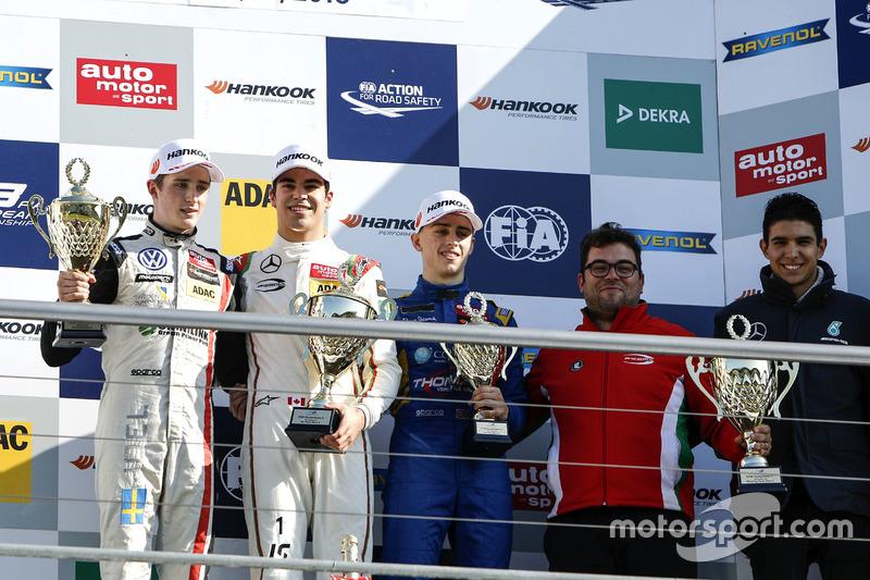 Podium : le vainqueur Lance Stroll, Prema Powerteam Dallara F312 - Mercedes-Benz; le deuxième Joel Eriksson, Motopark Dallara F312 - Volkswagen; le troisième Jake Hughes, Carlin Dallara F312 - Volkswagen; Rene Rosin, Prema Powerteam; Esteban Ocon