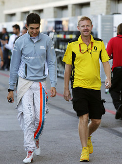 (L to R): Esteban Ocon, Manor Racing with Andy Stobart, Renault Sport F1 Team Press Officer