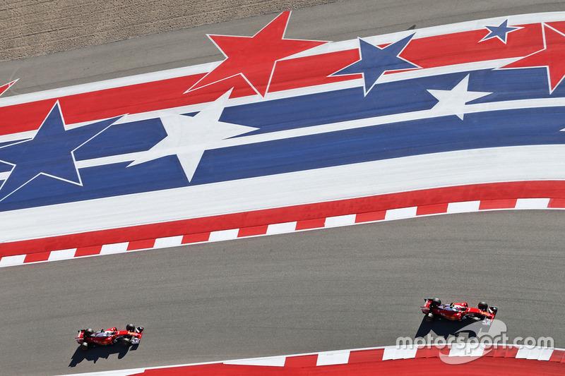 Kimi Raikkonen, Ferrari SF16-H y Sebastian Vettel, Ferrari SF16-H