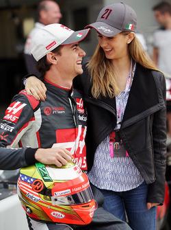 (L to R): Esteban Gutierrez, Haas F1 Team with his girlfriend Monica Casan