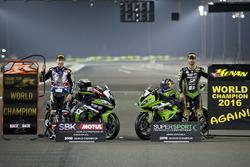 Jonathan Rea, Kawasaki Racing et Kenan Sofuoglu, Puccetti Racing, Champions du monde Superbike et Supersport