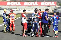 Valentino Rossi, Yamaha Factory Racing; Andrea Iannone, Ducati Team; Jorge Lorenzo, Yamaha Factory Racing, Paolo Ciabatti, Ducati; Maverick Maverick Viñales, Team Suzuki Ecstar MotoGP