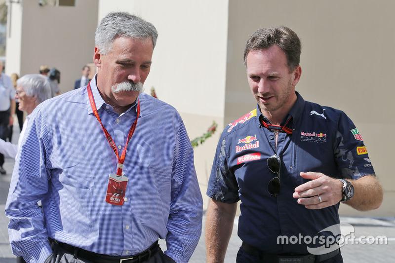 Christian Horner con Chase Carey este fin de semana en Abu Dhabi