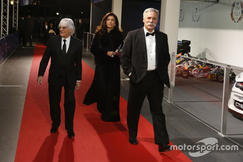 Bernie Ecclestone, sa femme Fabiana Flosi et Chase Carey
