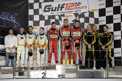Podium: race winners #11 Kessel Racing Ferrari 488 GT3: Michael Broniszewski, Giacomo Piccini, Davide Rigon, second place #88 Dragon Racing Ferrari 488 GT3: Matt Griffin, Nicolas Minassian, Rob Barff, third place #16 GP Extreme Renault RS 01: Jordan Grogor, Nicky Pastorelli, Stuart Hall