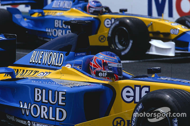 Jenson Button und Jarno Trulli, Renault R202