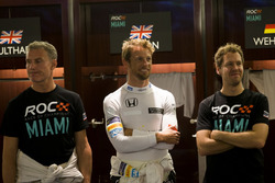 David Coulthard, Jenson Button y Sebastian Vettel