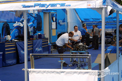 Team Player's pit area