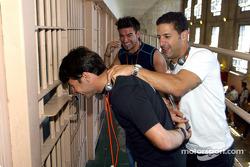Alex Tagliani, Tony Kanaan and Oriol Servia visiting Alcatraz prison on their way to Portland