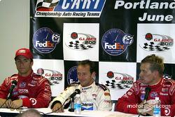 Press conference: pole winner Cristiano da Matta with Bruno Junqueira and Kenny Brack