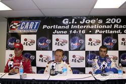 Press conference: race winner Cristiano da Matta with Bruno Junqueira and Dario Franchitti